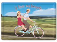 «I love my bicycle»,  nostalgische Vintage Fahrrad / Velo Blechpostkarte,  A6 [15 × 10.5 cm]
