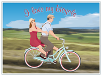 «I love my bicycle»,  nostalgisches Vintage Poster A2 [420x594mm]