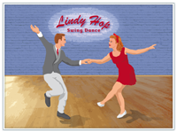 «Lindy Hop Swing Dance»,  Poster A1 [594x841mm] im Vintage Style