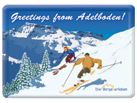 «Greetings from Adelboden!»,  nostalgische Vintage Blechpostkarte,  A6 [15 × 10.5 cm]